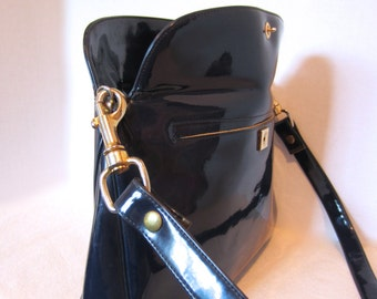 Mid Century Vintage KORET Royal Blue Patent Handbag / Shoulder Bag