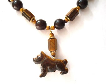 Bulldog Necklace Gemstone Beaded Tigereye Buri Nut Fiber Optic