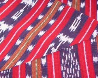 Guatemalan Ikat Fabric in Red and Blue Stripes