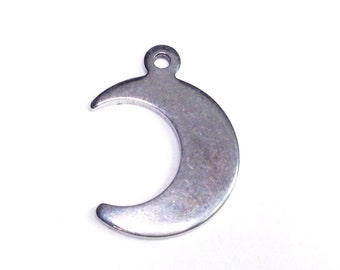 Crescent Moon Necklace Charm, Moon Pendant, Stainless Steel Jewelry Finding, 16x12mm, Hypoallergenic, Lot Size 10 to 75, #1649