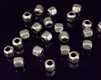 Hex Beads, Bulk Silver Pewter Spacer Beads, 5x5mm, 2mm hole, Antique Silver Pewter Beads, Lot Size 20 to 100, #1352 BH