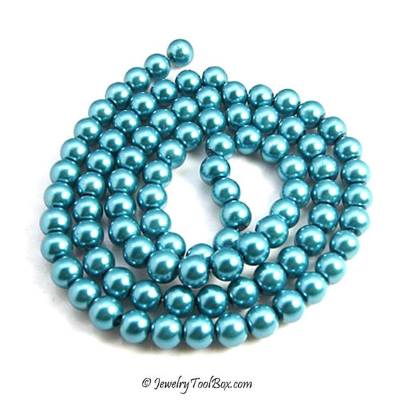 teal pearl bead strands pearlized glass 36 inch