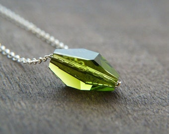 Green Crystal Necklace - Sterling Silver Necklace - Swarovski Crystal Necklace - Minimalist Necklace - Moss Green Crystal - Minimal Jewelry