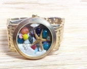 Large Gold Tone Basket Weave  Repurposed Upcycled/Recycled Beach Watch Bracelet