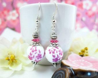 Pink ceramic pink cherry blossom silver earrings, mother's day pink cherry blossom earrings, Japanese sakura ceramic cottage chic earrings