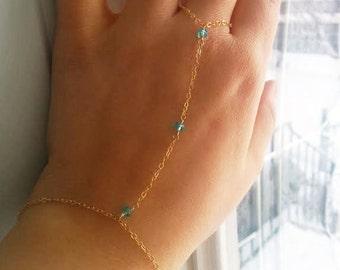 Dainty Gold Hand Chain, Gold Filled Slave Bracelet, Swarovski Crystal Bracelet, Everyday Delicate Finger Bracelet, Dainty Body Jewelry