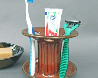 Toothbrush Holder Large Capacity 6 Slot in Iron Rust Red