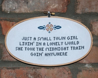 "Journey Cross Stitch lyrics with Hoop- ""Don't Stop Believin' """