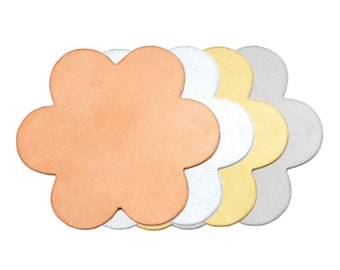 COPPER Flower Stamping Blanks ... 6 Petals - 1 inch - 5 Blanks for You