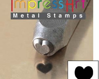 Metal Design Stamp ... Solid Heart 6mm ... Love... for Stamping, Jewelry, Keychains, Wood, Clay, Leather, more....