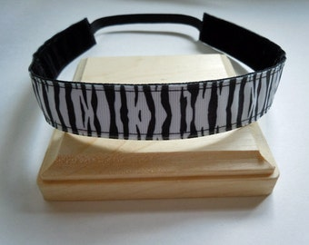 Adjustable Hair Bands NO SLIP and PERSONALIZED Zebra Pattern, Great for Runner's, Athletes, Spirit Wear and More