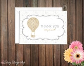 Thank You Cards - Hot Air Balloon and Stars Background - Set of 10 with Envelopes