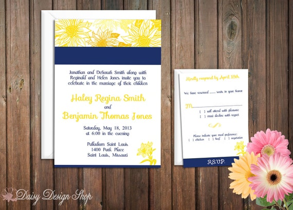 Wedding Invitation - Sunflower Sketch in Customizable Colors - Botanical Garden - Invitation and RSVP Card with Envelopes
