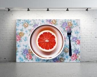 Fruit Photo, Pink Grapefruit Photo, Still Life Fruit Photo, GRAPEFRUIT, Ruby Red Grapefruit, Orange Fruit Photo, Kitchen Art, Citrus Photo