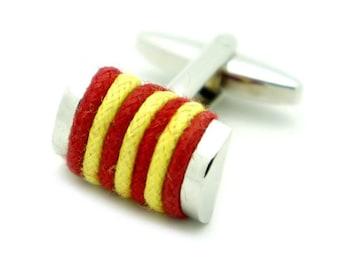 Red & Yellow Cotton Rope Cufflinks