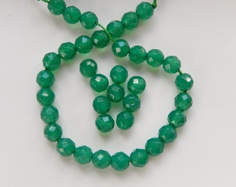 6mm 1/2 strand Green Onyx faceted round beads ,