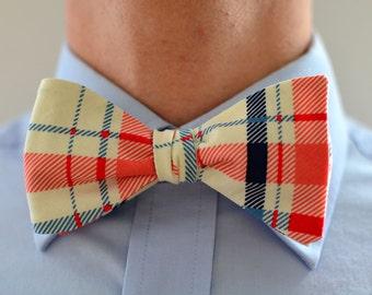 Men's Bow Tie in Coral and Blue Plaid -  navy blue wedding groomsmen ties self tie freestyle adjustable stripes ties ivory cream