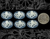 Six Blue and White Octopus Cameos 24x18mm Cameos CAM114