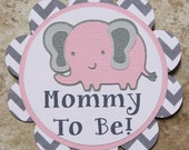 Elephant themed button pin pink-grey chevron- Customizable