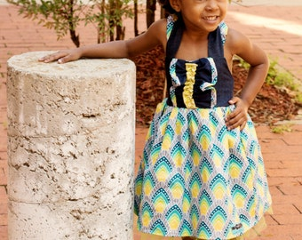 The Honeyflower Dress Pattern, PDF, Sizes 0-3 Months through 14 Years