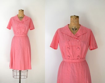 1940s Polka Dot Dress / 40s Pink Linen Dress