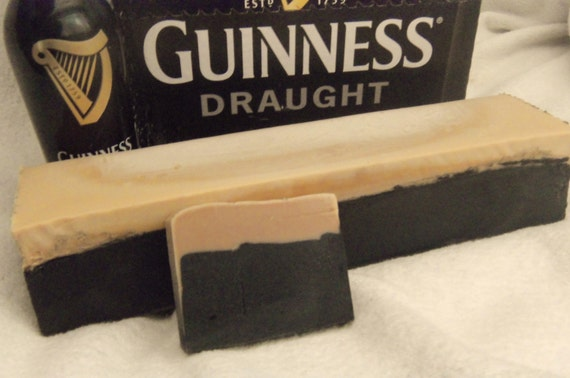 2 loaves of Beer Soap with Guinness . MAKES 20 bars at 4.oz each Great for party favors Made to look like a pint of Beer. Guy Man
