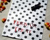 Trick or Treat Halloween Treat Bags - Black and White Polka Dot with Orange Foil