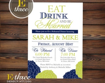 Floral Rehearsal Dinner Invitations - Wedding Rehearsal Invitation - Navy and Lime Green Flowers Rehearsal Dinner Invite
