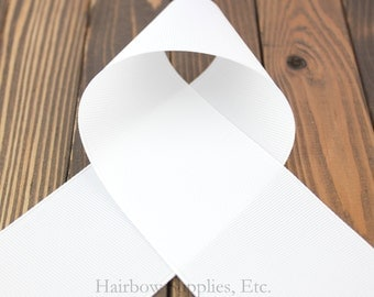 White 3 inch Grosgrain Ribbon - Choose from 1-20 yards - Wide ribbon for cheer bows