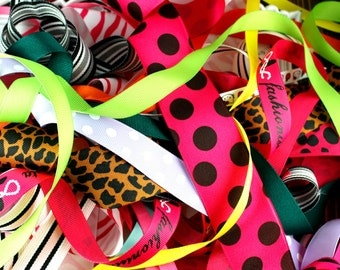 20 Yard GRAB BAG - Grosgrain Ribbon Assortment Scraps OVER 1 yard in all sizes and colors