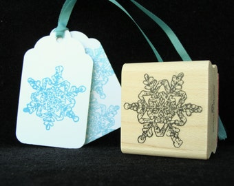 winter snow flake rubber stamp