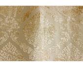 Light Gold N Ivory Damask Fabric Upholstery Fabric Curtain Fabric Wholesale Fabric Velvet Fabric Designer Fabric Modern Damask Pattern
