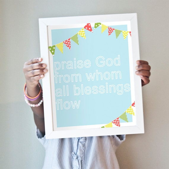 Doxology Print in light blue
