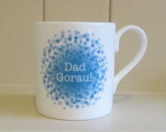 Best Dad in Welsh, Dad Gorau, fine bone china mug with blue splatter design