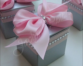 Pink And Silver, Wedding Favor Boxes, Satin Bow, Rhinestone Bling Trim, Bridal Showers, 25th Anniversary Party, Candy Treat Box, Set Of 24