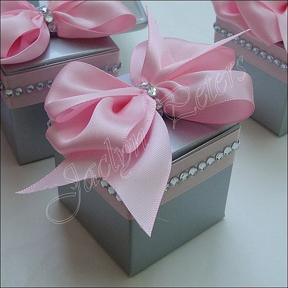 Pink And Silver Wedding Favor Boxes Satin Bow Rhinestone