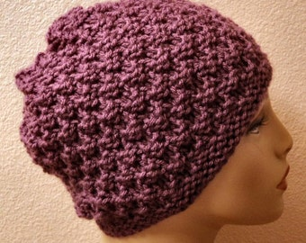 Hand Knitted Acrylic Mulberry Seed Stitch Slouchy Hat