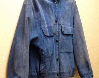Vintage Faded Blue Suede Jacket 1970's
