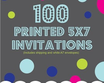 Printing Service Add On, 100 5x7 printed invitations, one sided, color, Includes shipping and envelopes