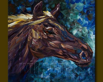 Original Horse Oil Painting Textured Palette Knife Modern Animal Art 20X20 by Willson Lau