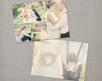 "Personalized wedding thank you cards / 5x7 flat cards / Wedding thank you / the ""Melody 2"""