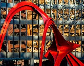 Alexander Calder Sculpture called the Flamingo in Downtown Chicago in Illinois No.4462 - A Fine Art Modern Urban Landscape Photograph