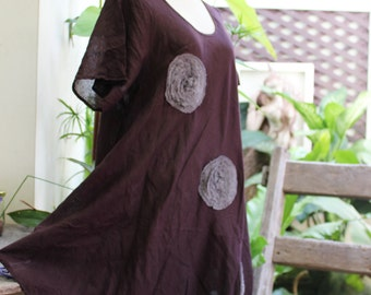 L-XXL Roomy A-Shape Tunic - Short Sleeves - Choc Brown
