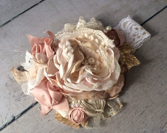 TuTu Cute pink flower cozette couture shabby chic vintage inspired headband