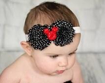 Minnie Mouse Headband, Micky Mouse Headband, Shabby Chic Headband, Baby Girl Headband, - il_214x170.603058354_i4xc