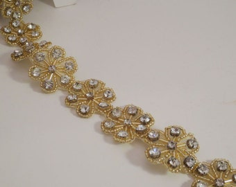 Floral Design Rhinestone Trim with Gold Beads--One Yard