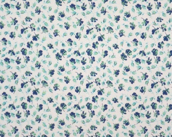 REMNANT--Blue and Green on White Tiny Allover Floral Print Stretch Cotton Sateen Fabric--5/8 Yard