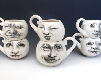 White Coffee Mug, two white porcelain mugs, hand drawn faces of the moon, Set of Two