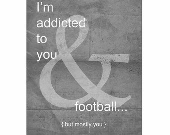 Ampersand Print, Football Print, Typography Print, Love Print, Football Season, Charcoal, Unisex Gift, Gifts for Him, Gifts under 25