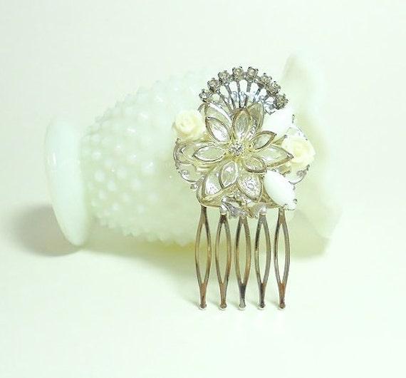 Floral Hair Comb - OOAK Bridal Hair - Reclaimed Vintage - White Hair Comb - Rhinestone Jewel Hair Comb - Art Deco - Assemblage